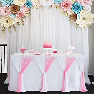 Pink Table Skirt 14ft Tutu Tulle Tablecloth for Baby Shower Girl Party Bridal Shower Wedding Birthday Decorations(L14(ft) H 30in)