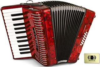 Hohner Accordions 1303-RED 37-Key 12-Bass Accordion Bundle with Zorro Sounds Polishing Cloth