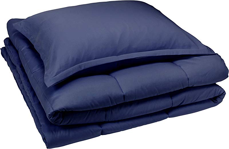 AmazonBasics Comforter Set Twin Twin XL Navy Blue Microfiber Ultra Soft
