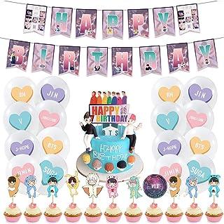 Birthday Party Supplies Decoraciones BETOY 44PCS BTS Conjunto de Decoración de cumpleaños BTS Cupcake Toppers Banner Globo...