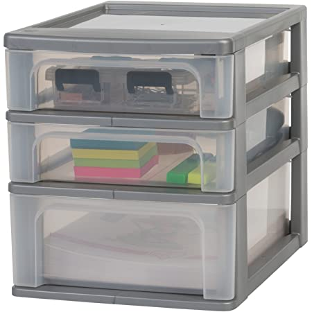 Amazon Basics 135664 Tour de rangement 3 tiroirs Organizer Chest, Plastique, Gris, 2 x 4L + 1 x 7L