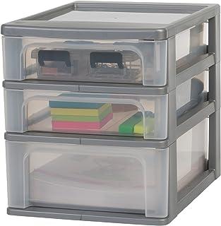 Amazon Basics OCH-2021 Tour de rangement 3 tiroirs Organizer Chest, Plastique, Gris, 2 x 4L + 1 x 7L