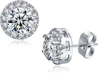 cbfc4adf6 18K White Gold/Rose Gold Plated CZ Stud Earrings Hypoallergenic Cubic  Zirconia Halo Studs for