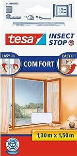 tesa Insect Stop Comfort vliegengaas voor ramen en insectenbescherming met zelfklevend klittenband (130 cm x 150 cm/3-pac...