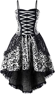Soluo Women Steampunk Gothic Victorian Long Dress Sleeveless Vintage Lace Medieval Plus Size Dresses