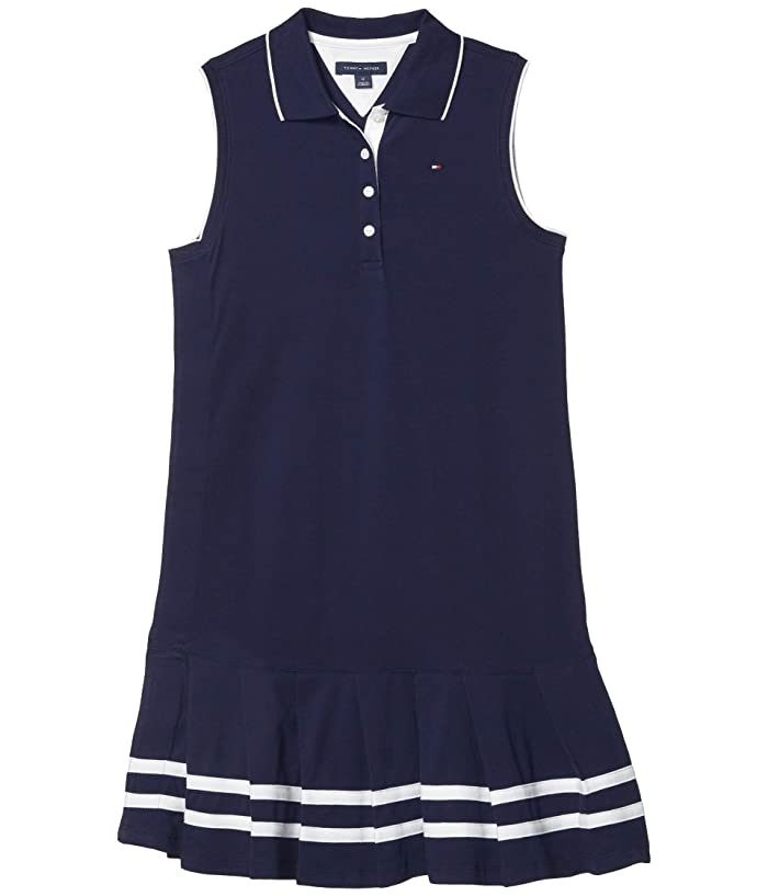 Tommy Hilfiger Adaptive  Polo Dress with Hidden Velcro at Side (Toddler/Little Kids/Big Kids) (Evening Blue) Womens Dress