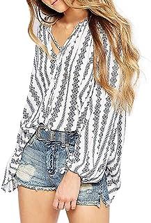 ファッション女性のVネックストライプ花柄プリント長袖トップスブラウスTシャツ