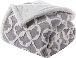 Bedsure Velveteen/Sherpa Throw Blanket 50×60 Inches, Grey - Super Soft Plush Fuzzy Warm Jacquard Blanket - All Season Ligh...