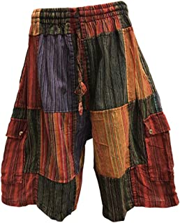 Men's Ethnic Print Stonewashed Cotton Patchwork Cargo Shorts