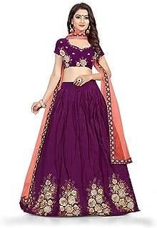 Indian Dresses Store Dee Fashion Women's Embroidered Taffeta Silk Lehenga Choli with Blouse Piece (Purple, Free Size)