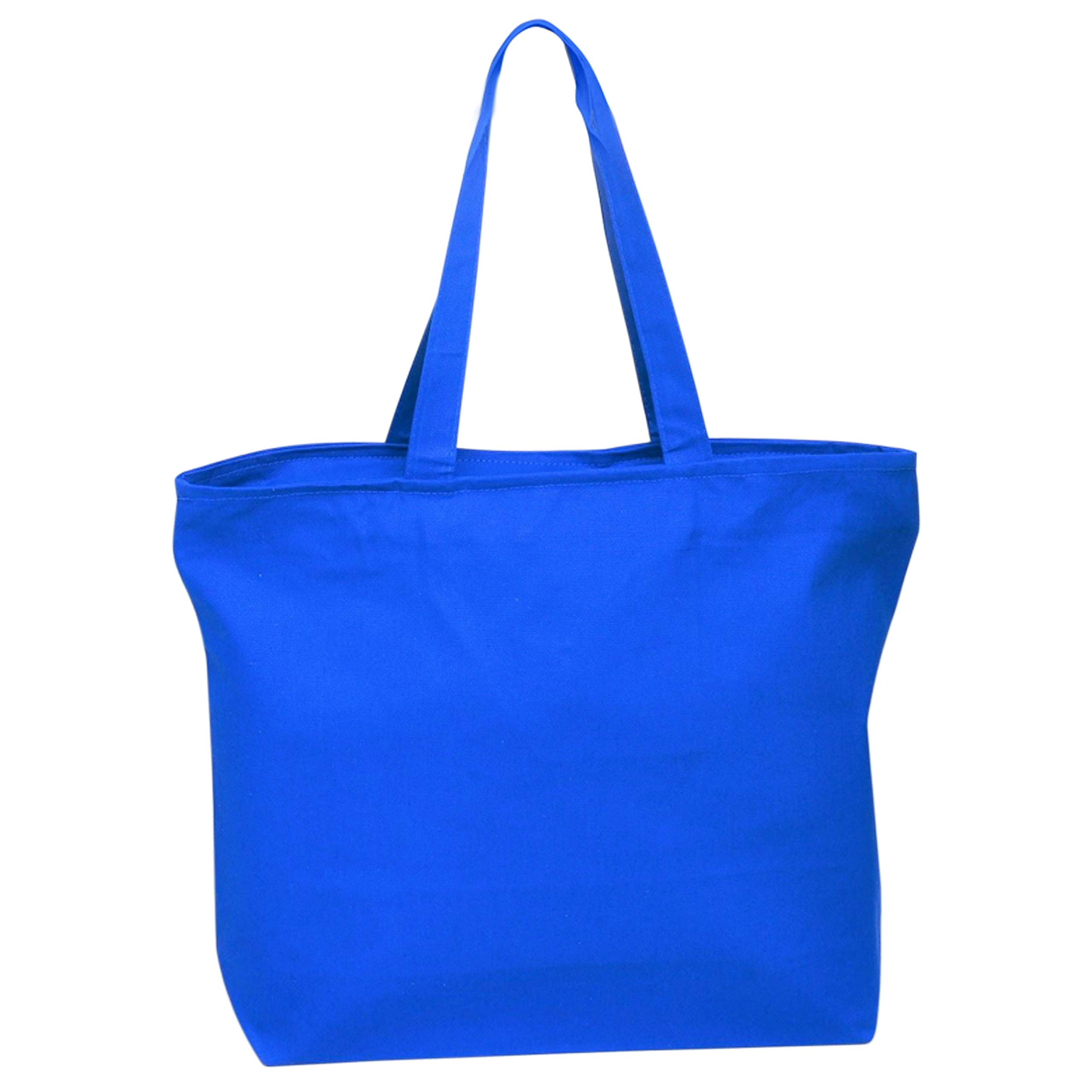 Heavy Canvas Large Tote Bag with Zippered Closure for Beach, Grocery Shopping, Travel by TBF Bags (Royal, 2)