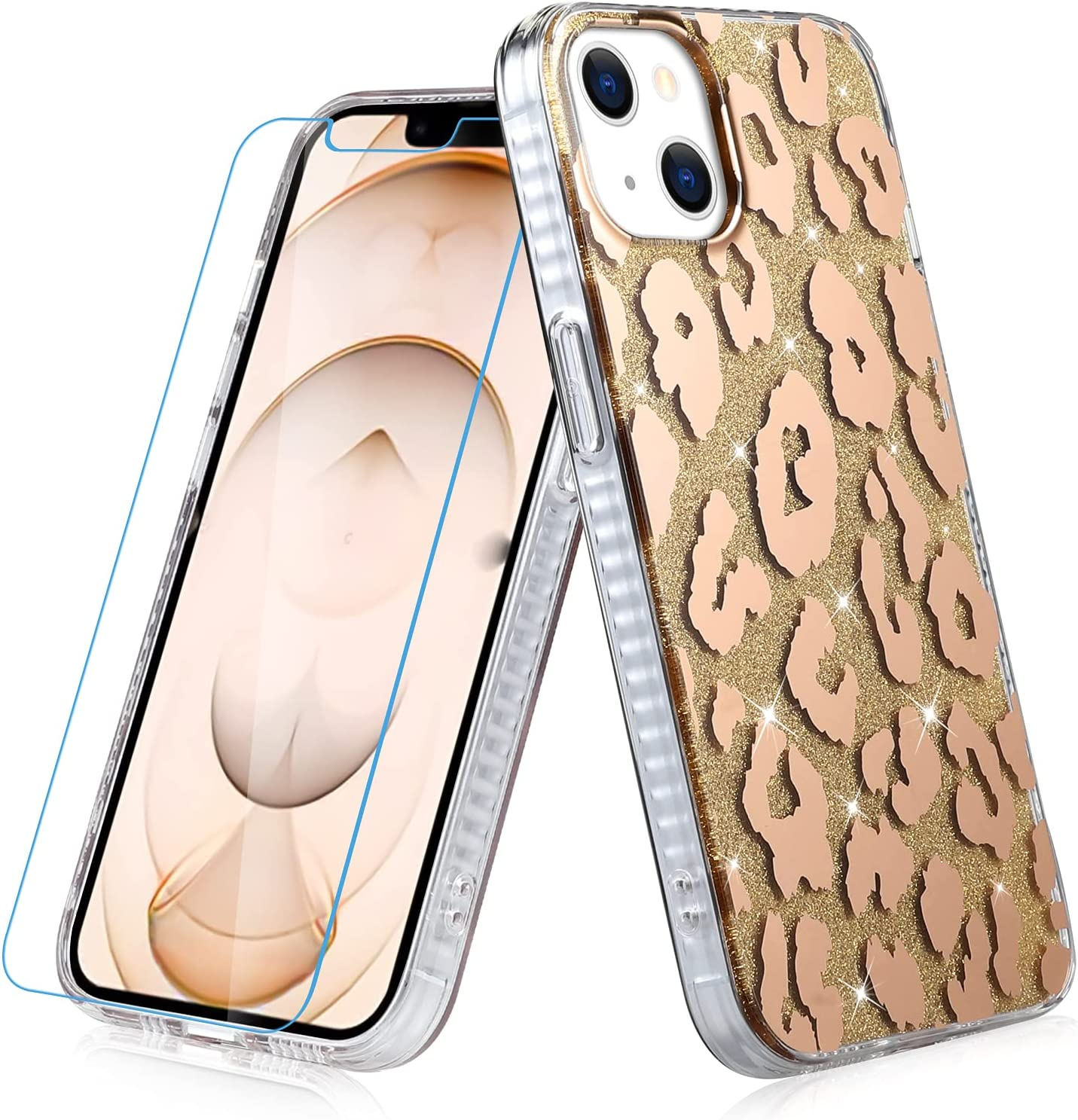 MZELQ Compatible with iPhone 13 Case (2021) 6.1 Inch Leopard Pattern Glitter Sparkle Design for Women Girls Slim Soft Bumper Hard Back Protection Cover with Screen Protector (Golden)