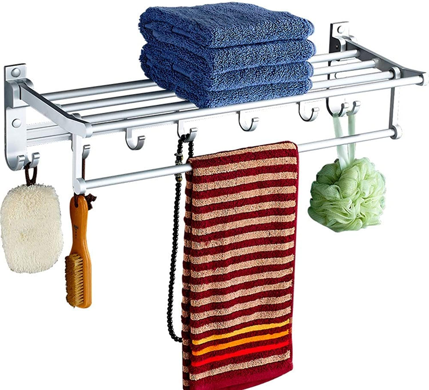 Storage Shelf Bathroom Shelves Rack Wall Mount Storage Towel Rack Waterproof with Rod Hook Space Aluminum, 4 Sizes Home Stand (color   Silver, Size   Length 40cm)