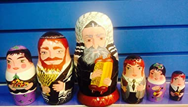 Amazing Limited Edition Hand Painted Collectible Jewish Matryoshka Family Dolls Set of 6 by Russian Artist Tziona
