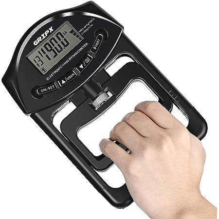 GRIPX Digital Hand Dynamometer Grip Strength Measurement Meter Auto Capturing Electronic Hand Grip Power 198Lbs / 90Kgs, Black