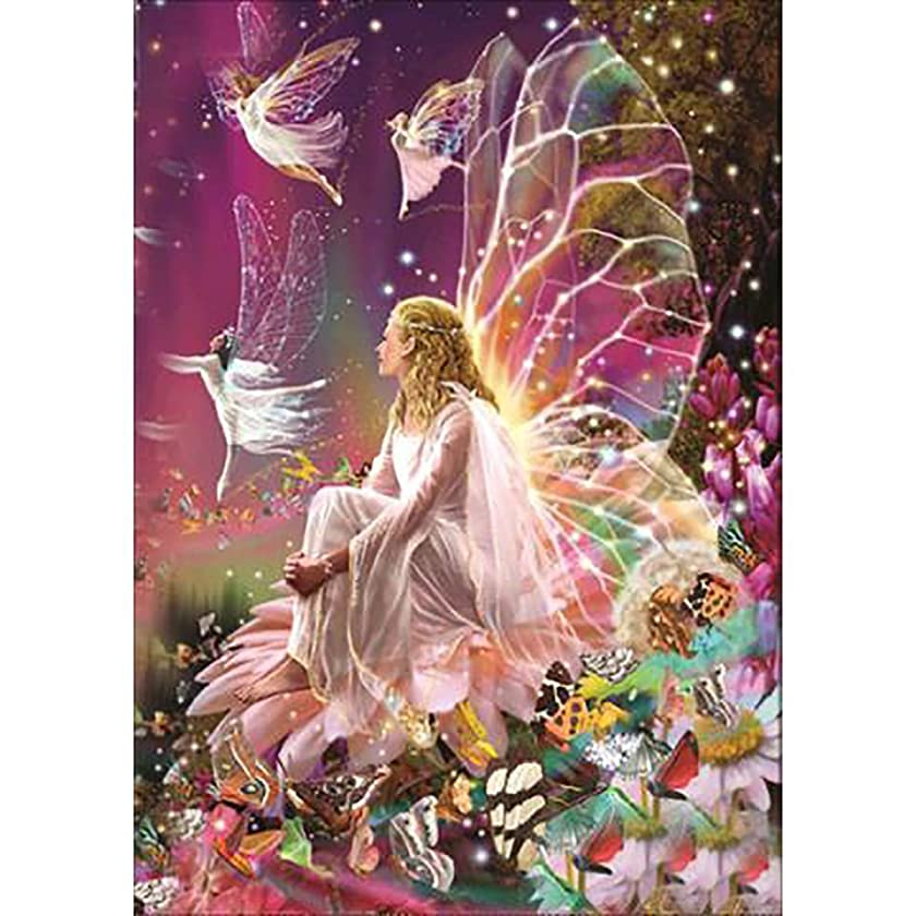 DIY 5D Diamond Painting by Number Kits, Crystal Rhinestone Diamond Embroidery Paintings Pictures Arts Craft for Home Wall Decor (Fairy Queen on The Flower, 11.815.7inch)