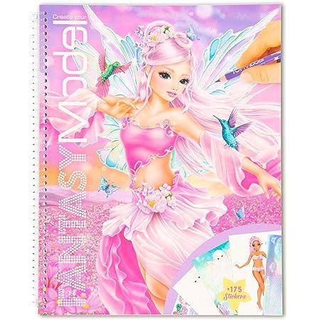 Depesche-DP-0011430 Libro Create Your Fantasy Model, Aprox. 29 x 23 cm, 78 páginas para Colorear y Pegar, Incluye 175 Pegatinas y una Plantilla, Color 0, única (11430)