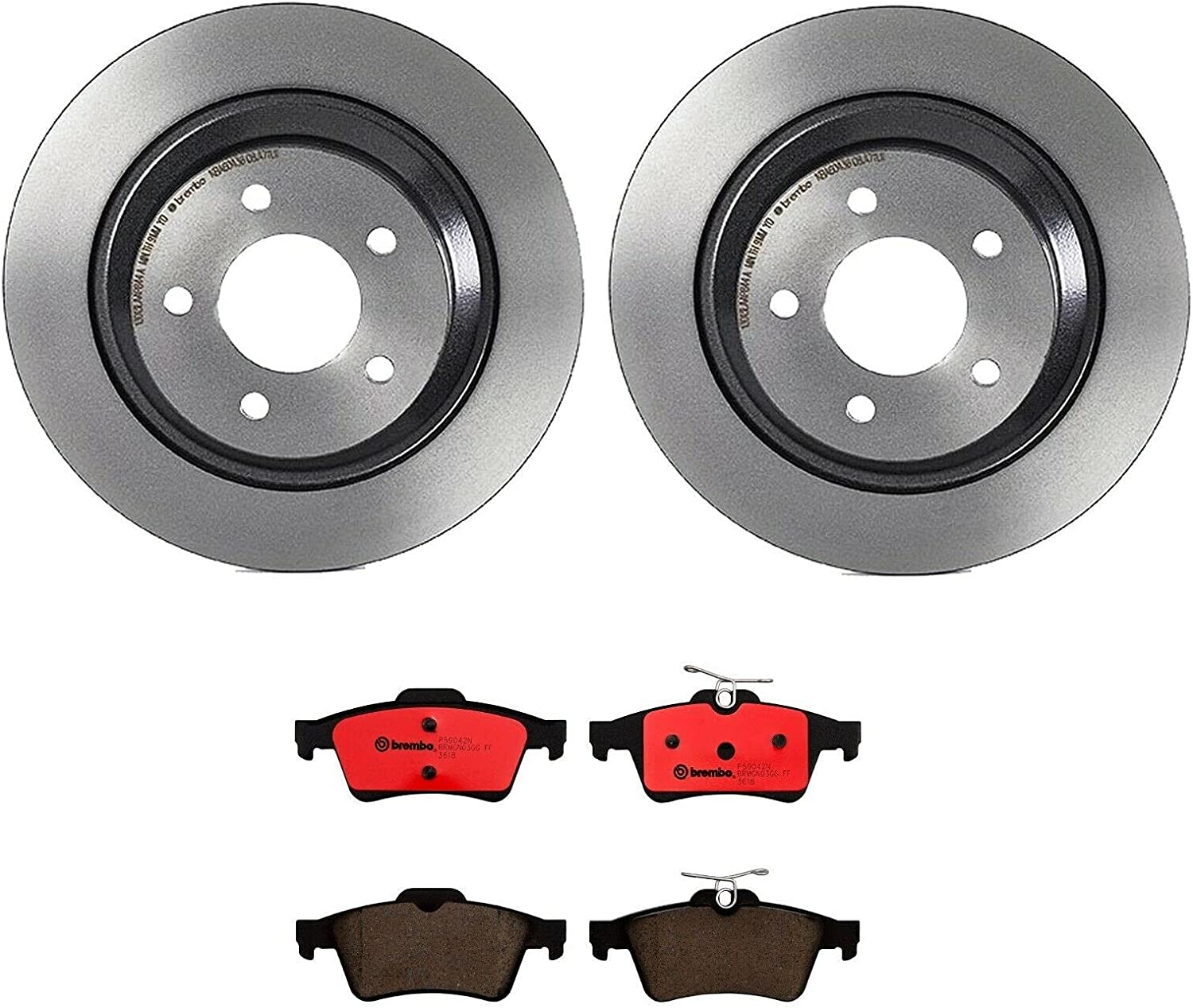Rear Brake kit UV Spring new work one after another Coated Disc Rotors w Pads Save money Compatible Ceramic