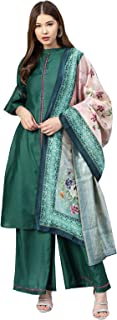 Inddus Green Silk Blend Solid Palazzo Kameez With Cotton Woven Dupatta (Fully-Stitched).