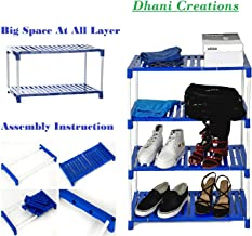 Multi-Purpose Steel Shoe Rack Foldable Shoe Rack with 4 Shelves (Plastic Steps and Powder Coated Rods), by Dhani Creations