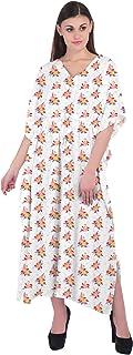 RADANYA Women's Beach Cover Up Swimsuit 3/4 Sleeve Kaftan Floral Print Cotton Caftan