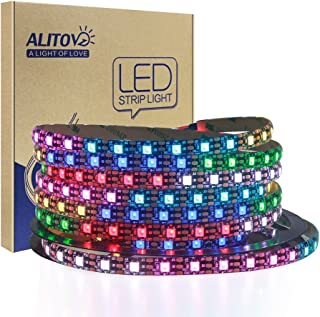 ALITOVE WS2812B Addressable 300 Pixels RGB LED Strip Light 5m/16.4ft Programmable Dream Color Digital LED Flexible Strip Pixel Light Waterproof IP65 5V DC Black PCB for Arduino Raspberry Pi Project