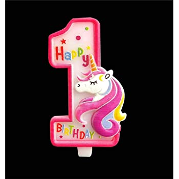 Partymane Unicorn Birthday Candle - First Birthday Party Supplies - Unicorn Themed Party Decorations (Pink)
