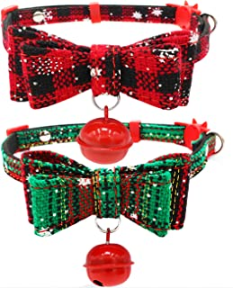 Malier 2 Pack Christmas Pet Collar for Puppies Cats Adjustable Cat Collars with Bow Tie &