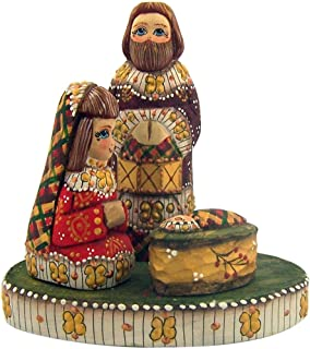Small Wooden Hand Carved 4 1/2-Inch Nativity Set Russian Style Christmas Decoration