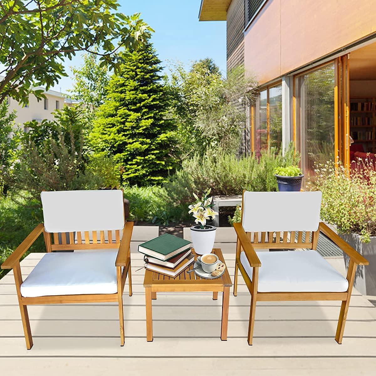 3 Pieces Patio Nippon regular agency Set Direct stock discount Wood Outdoor Acacia Furniture