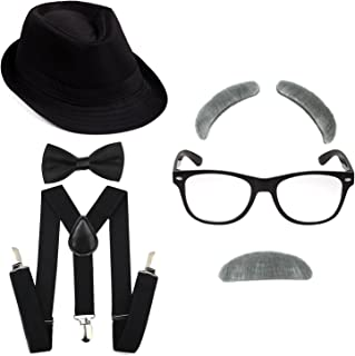 1920's Boys Fedora Gangster Hat,Suspenders w/Pre-Tied Bow Tie, Old Man Eyebrows,Moustache,Nerd Fake Glasses