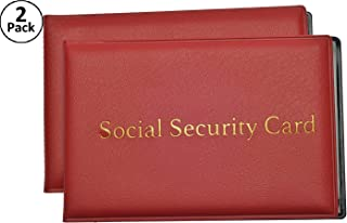 Social Security Card Protector with 2 Clear Card Sleeves - Holds Medical Prescriptions, Medicare Card Holder, Driver License, Health Insurance, ID, Credit Card Holders, Red, 2 Pack