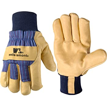 Men's Heavy Duty Leather Winter Work Gloves with Thinsulate Insulation (Wells Lamont 5127XL), Palomino with Black Back, X-Large