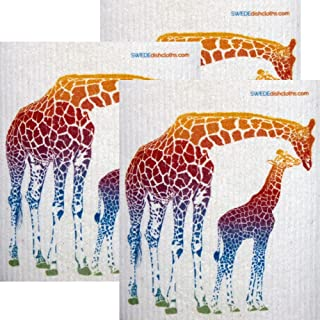 Colorful Giraffe Set of 3 Each Swedish Dishcloths   ECO Friendly Absorbent Cleaning Cloth   Reusable Cleaning Wipes