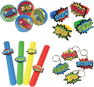 Kid Fun Superhero Toy Party Favor Supplies Set 12 Bundle 48 Pieces Keychains Snapbracelets Balls Rings
