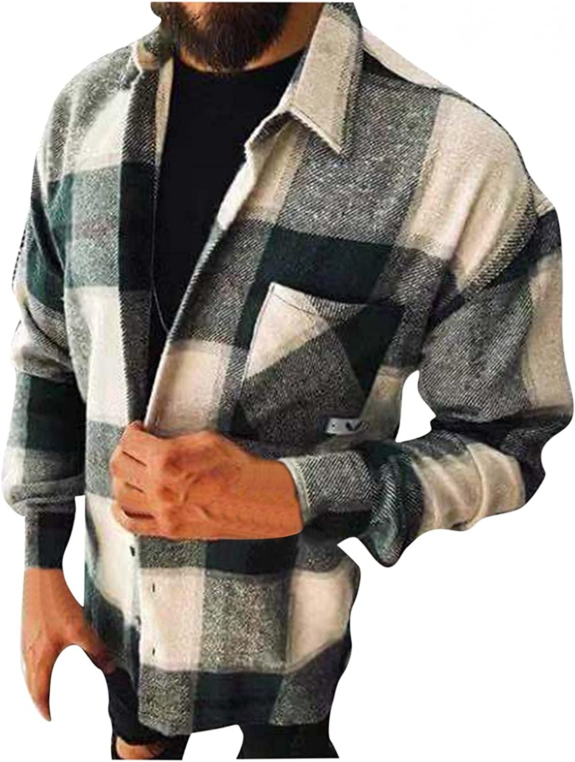 Mens Casual Flannel Button Down Shirts Long Sleeve Corduroy Jackets Tops Sweatshirts Big and Tall (S-5XL)
