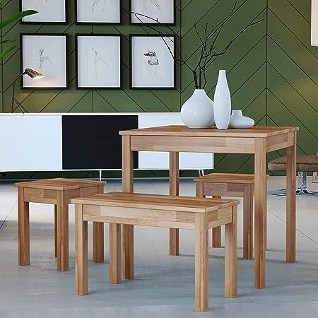 Table à Manger en hêtre Tomas en Bois Massif (75 x 75 x 75 cm)