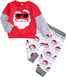 Infant Baby Christmas Outfit Boy Girl Christmas Santa Splicing T-Shirt Tops + Santa Print Pants Pajamas 2pcs Clothes Set