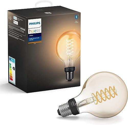 Philips Hue Ampoule LED Connectée White Filament E27 Forme Globe, Compatible Bluetooth 7 W, Fonctionne avec Alexa