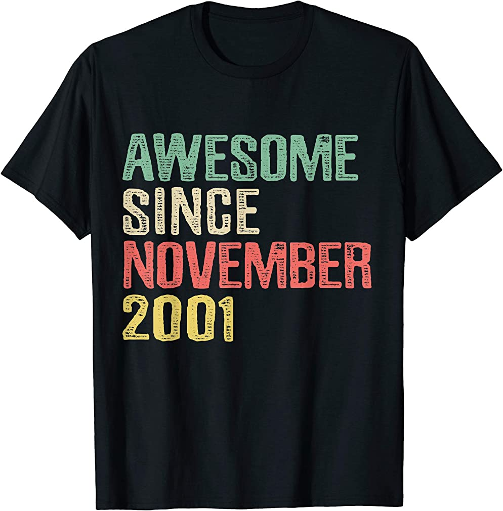 Awesome Since November 2001 18 Years Old 18th Birthday Gift T-shirt