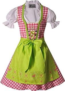 Bayer Madl Mädchen Kinderdirndl pink grün mit Bluse - Dirndl Josy 3-teilig für Mädchen