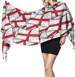 Scarf Shawl Wraps Cashmere Feel Scarf England Flag Wave Collage Large Scarf Super Soft Warm Luxurious For Women Office Worker Travel
