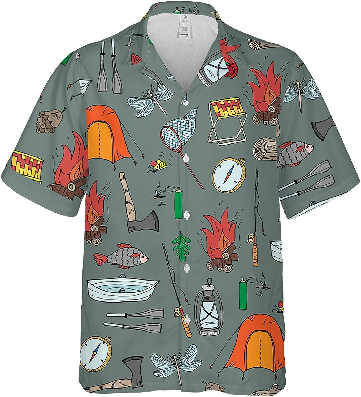 CLOTHINGFORFUN Camping Hawaiian Shirt Beach Summer and Beach Shorts for Men, Women