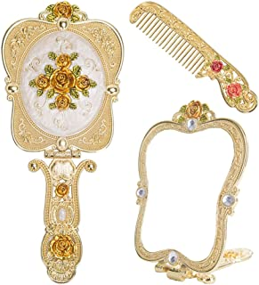 Nerien Vintage Rose Metal Mirror Comb Set Antique Hand Held Vanity Mirror Comb Set Gold