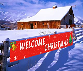 Large Welcome Christmas Banner, Merry Christmas Banner, Xmas Decorations for Indoor Outdoor, Christmas Party Supplies, Holiday Party Decor (9.8 x 1.5 feet)