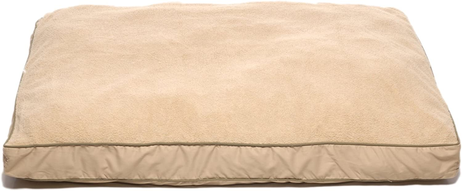 Carolina Pet 01209 CPC Four Season Ex Large Pet Bed with Cashmere Berber Top, Khaki with Sage Cording, 48  by 36  by 4