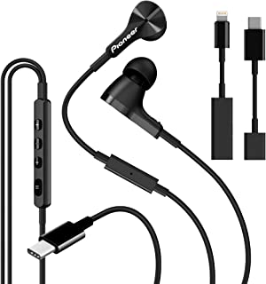 Pioneer Rayz Pro Smart USB-C & Lightning Wired Headphones Earphones, Active Noise Cancelling Earbuds Microphone Volume Con...