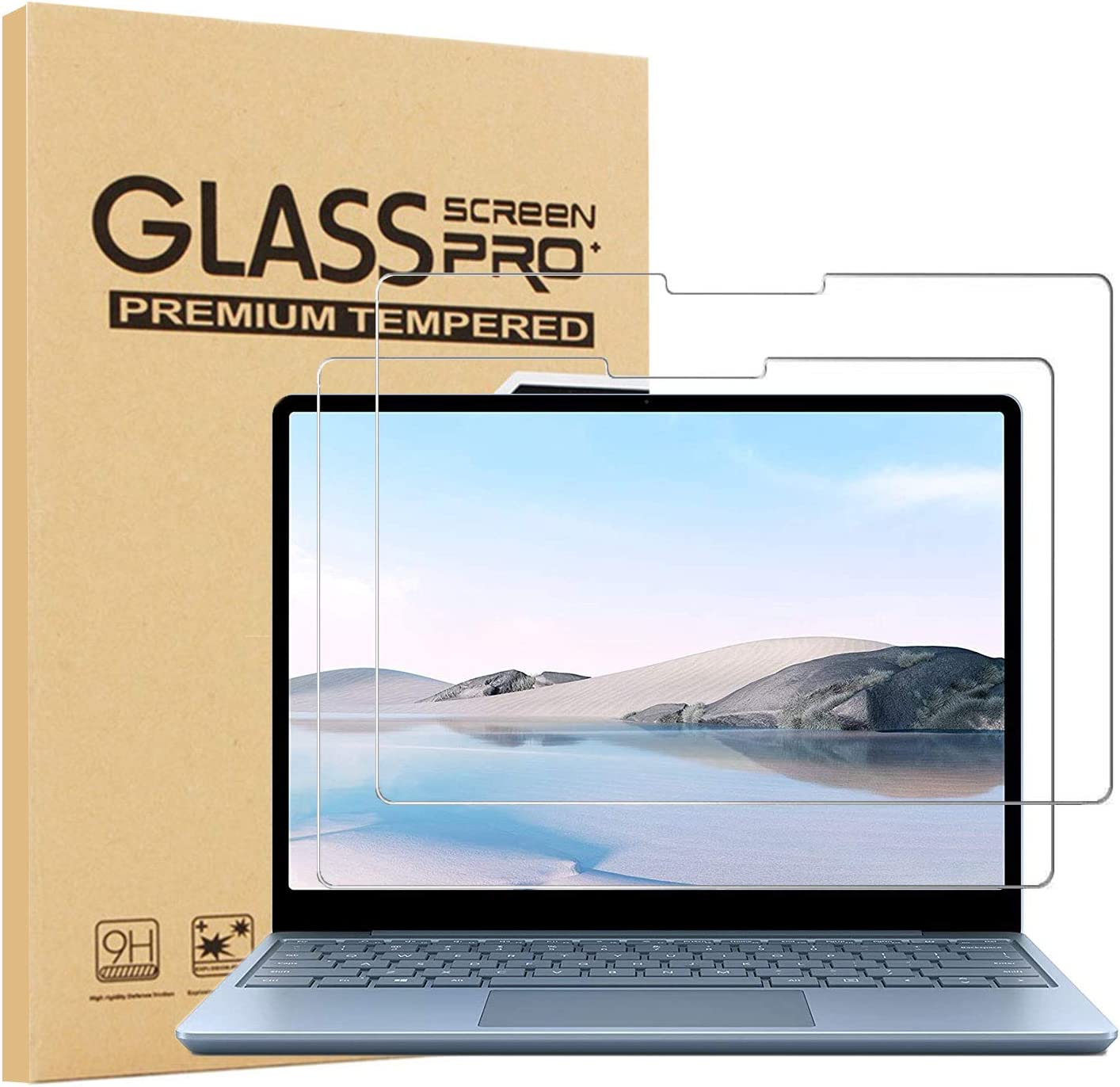 2-Pack Epicgadget Fashion Glass Screen Protector for Go Laptop Rapid rise Surface