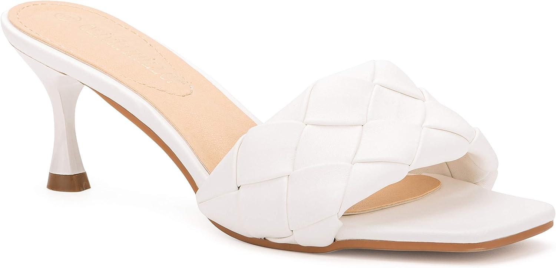 Olivia Miller Women's Shoes, Half Moom Woven Single Toe Strap, Slide On Kitten Heel Sandals