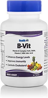 Healthvit Nutrition Natural B-Vit Vitamin B complex with Biotin, Vitamin C and Folic Acid - 60 Tablets (Vitamins B1, B2, B6) For boosts energy Mental Power & Metabolism